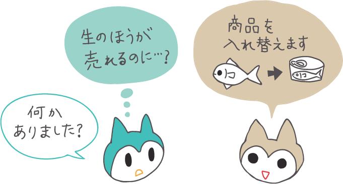 イラスト:商品を生の魚から缶詰の魚に差し替えたい、と言うクライアント猫に「何かあったんですか?」と問いかける制作者猫