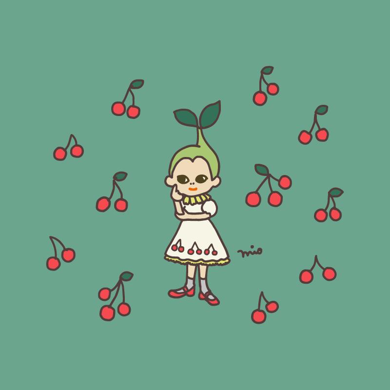 イラスト:さくらんぼガール(背景緑)